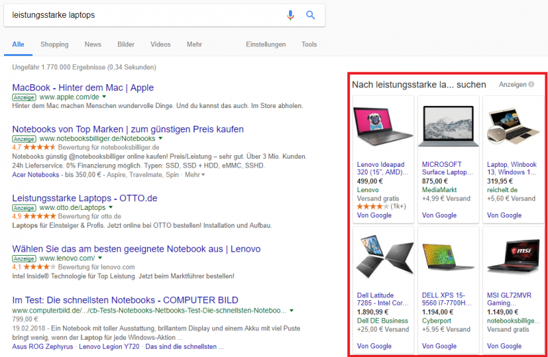 Product Listing Ads bei Google Shopping
