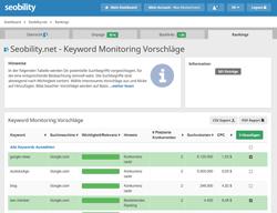 Individuelle Keyword Vorschläge für Ranking Überwachung