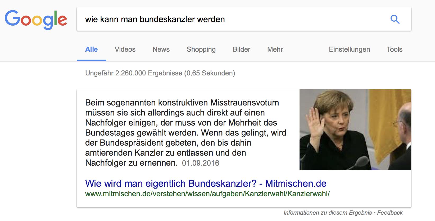 """Featured Snippet mit Bild für die Frage """"Wie kann man Bundeskanzler werden?"""""""