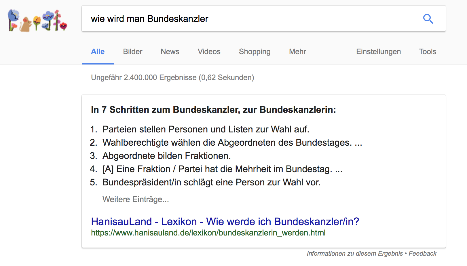 """Liste als Featured Snippet zur Frage """"Wie wird man Bundeskanzler?"""""""
