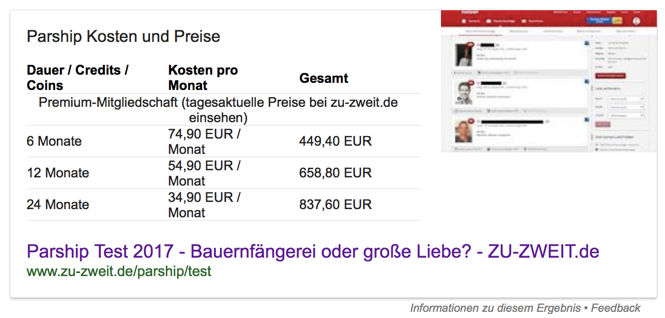 "Google Featured Snippet als Tabelle zur Frage ""Parship Kosten?"""