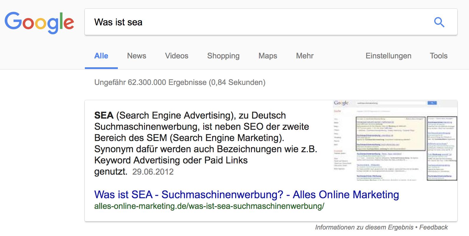 """Darstellung als Textantwort eines Featured Snippet für die Frage """"Was ist SEA?"""""""