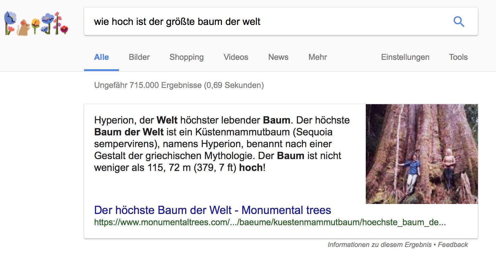 Beispiel eines Google Featured Snippet in den Suchergebnissen zur Frage: Wie hoch ist der größte Baum der Welt?