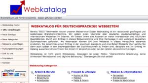 Der Webkatalog, eines der damals marktführenden Webverzeichnisse