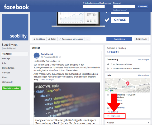 facebook Impressum Screenshot