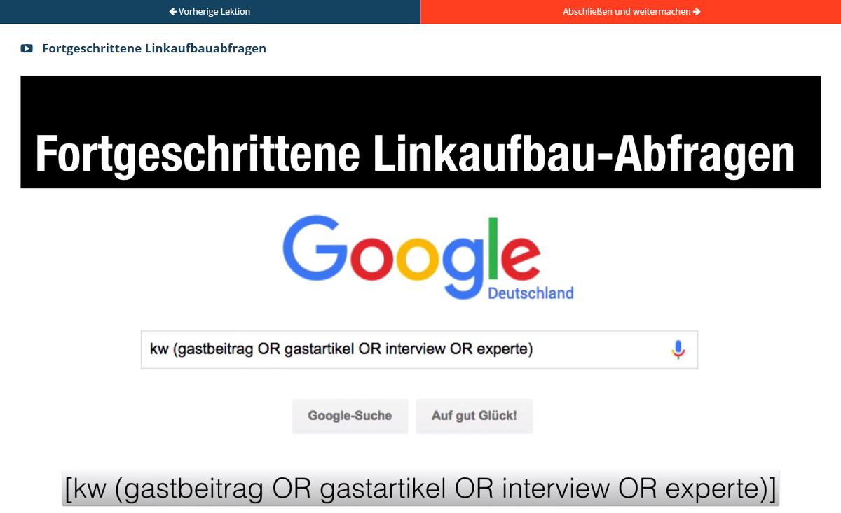 Linkaufbau-Onlinekurs