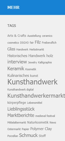 Tag-Cloud Kunsthandwerk-Online