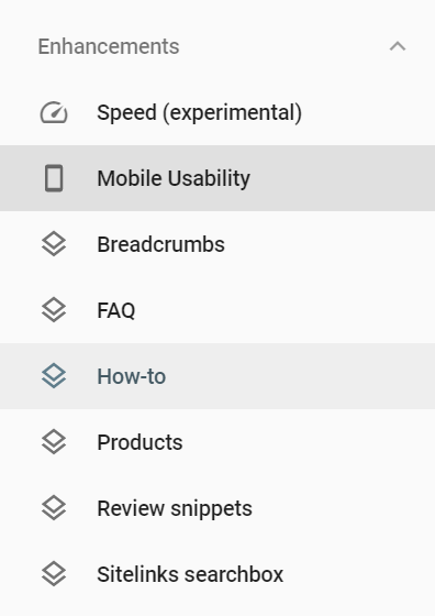 search console, enhancements