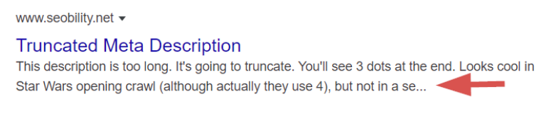 truncated meta description