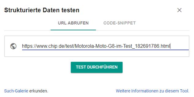 URL eingeben im Testtool