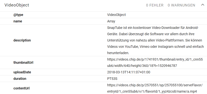 VideoObject Markup