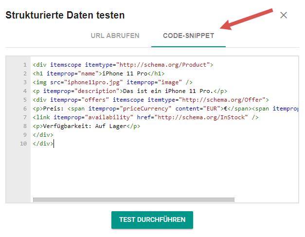 Code-Snippet in Googles Testtool für strukturierte Daten