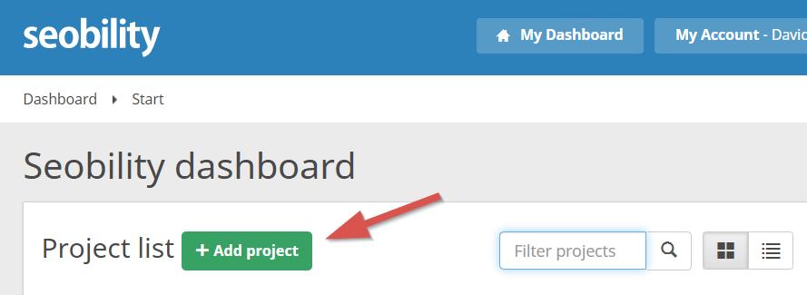 seobility dashboard - add project