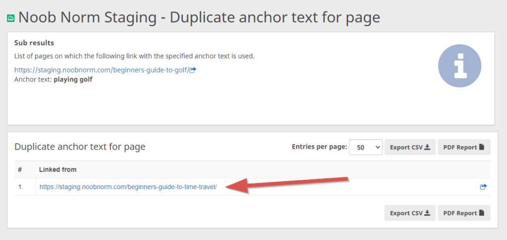 duplicate anchor text details