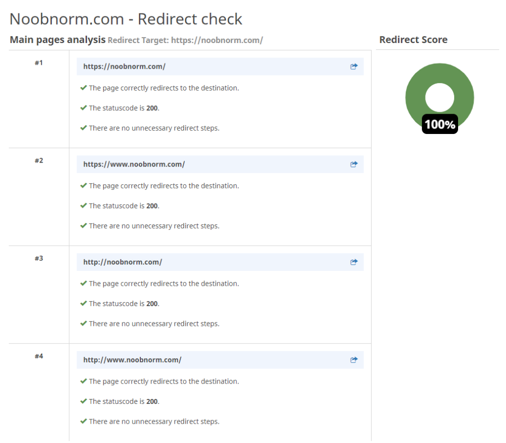 redirect check results