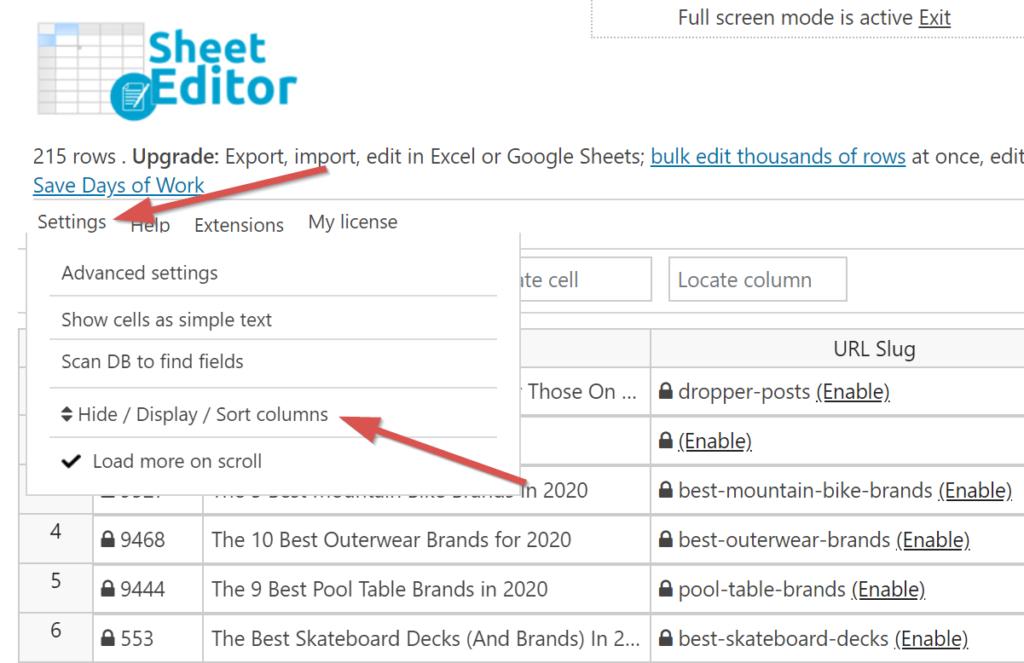 wp sheet editor - Spalten auswählen