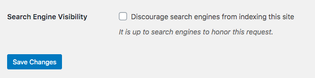 discourage search engines checkbox
