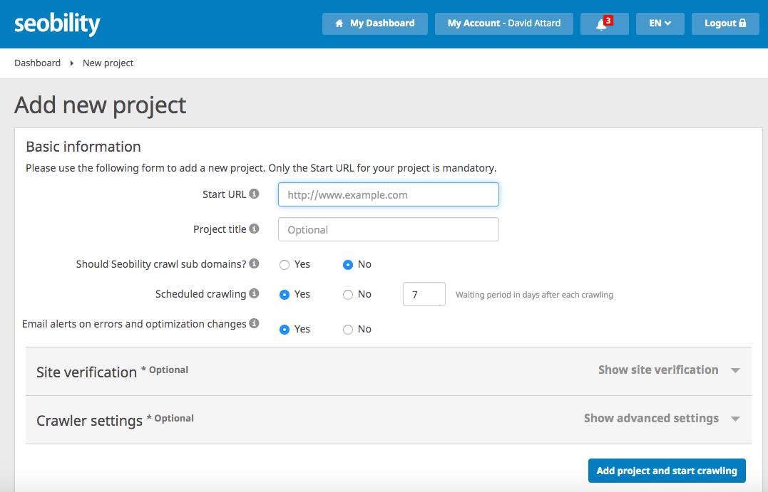 Seobility - add new project