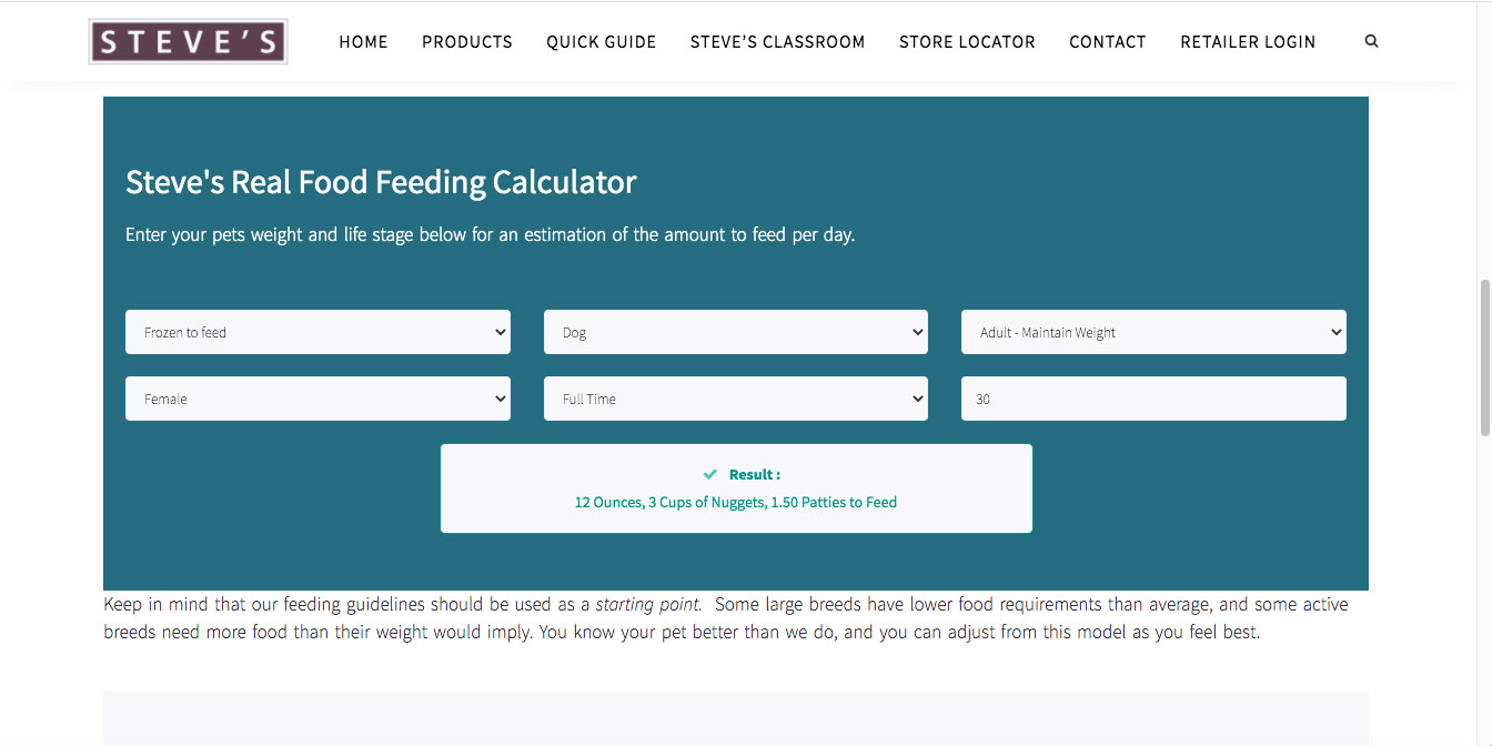 dog food calculator
