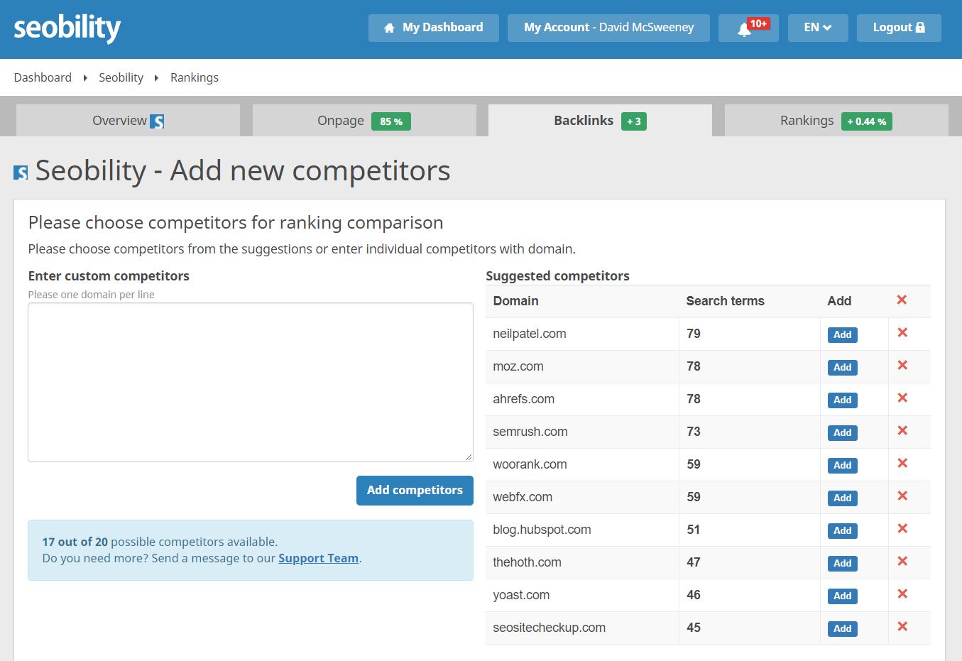 seobility add competitors