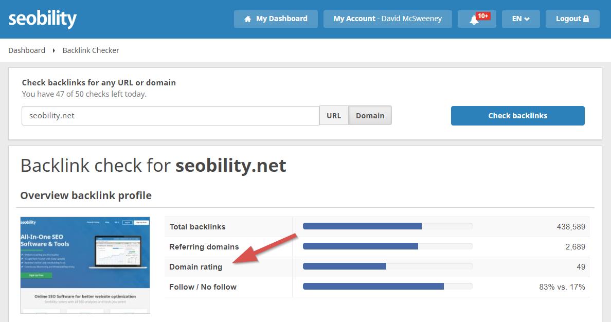 seobility domain rating