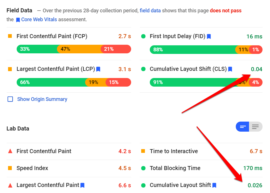 CLS pagespeed insights