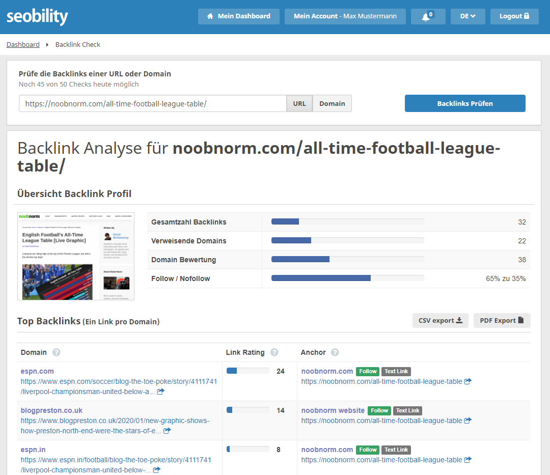 football league table backlinks