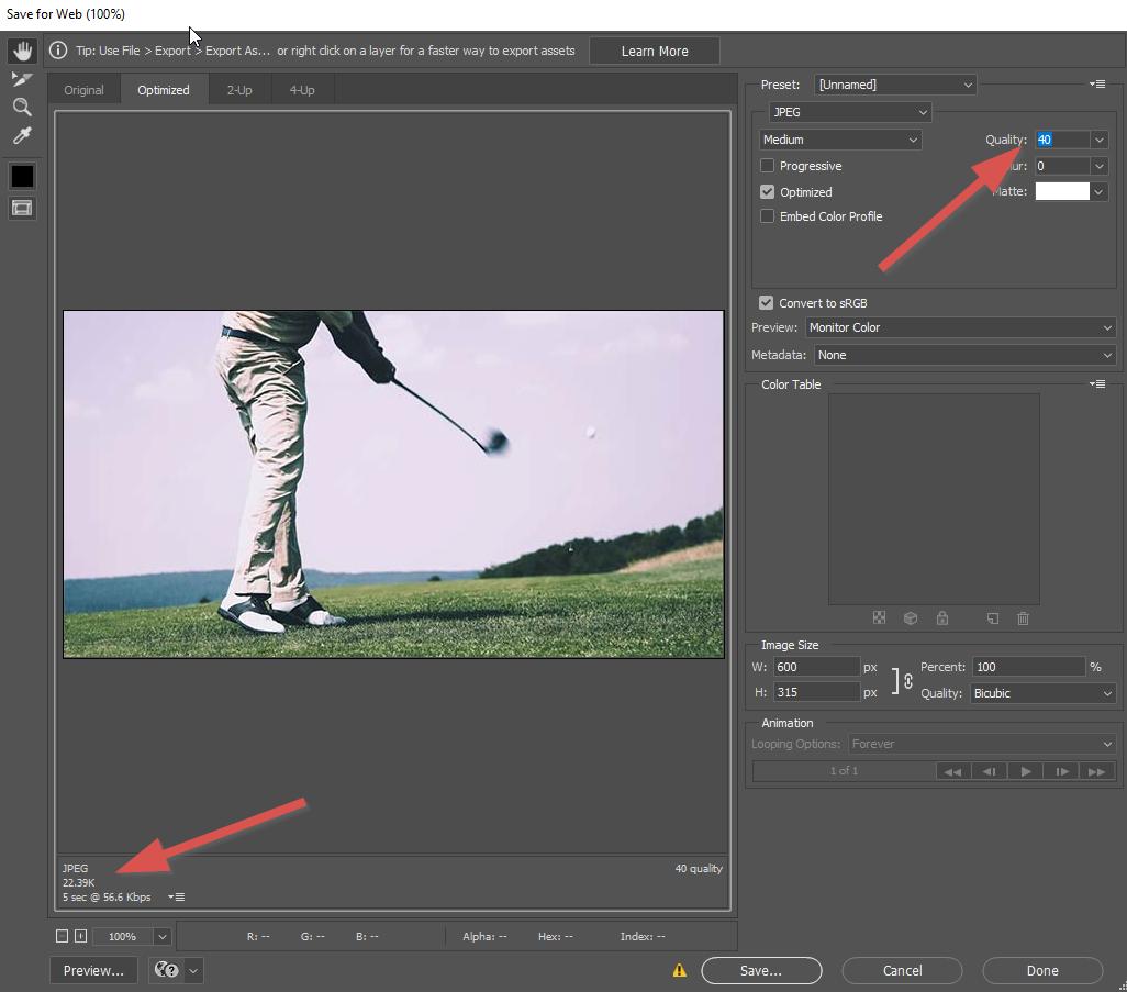 optimizing image size in adobe photoshop