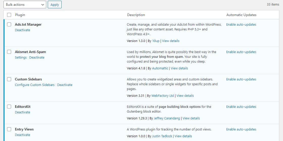 remove wordpress plugins