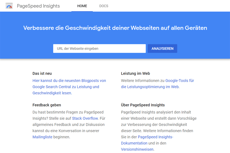 Googles Pagespeed Insights